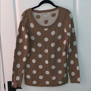 Old Navy, Tan Polka Dot Long Sleeve Sweater